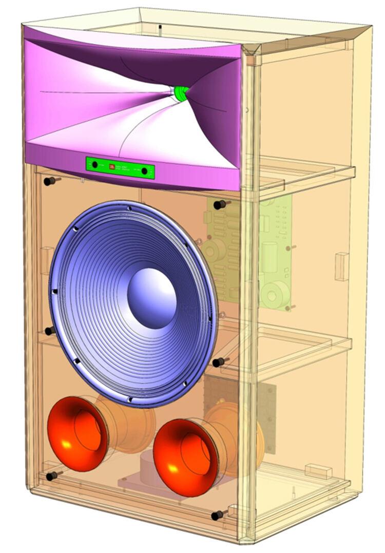JBL 4367 Studio Monitor Loudspeaker Front Internal View