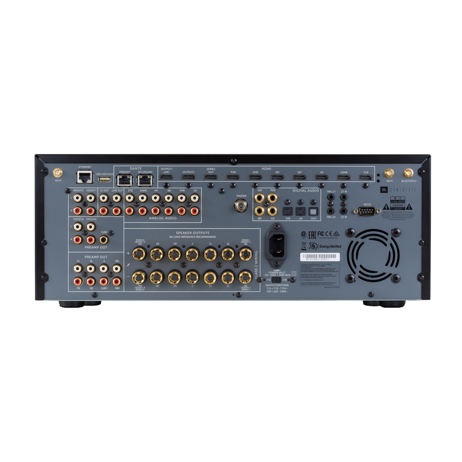 SDR-35 - Black - Class G Immersive Surround Sound AVR w/16 channels of processing - Back