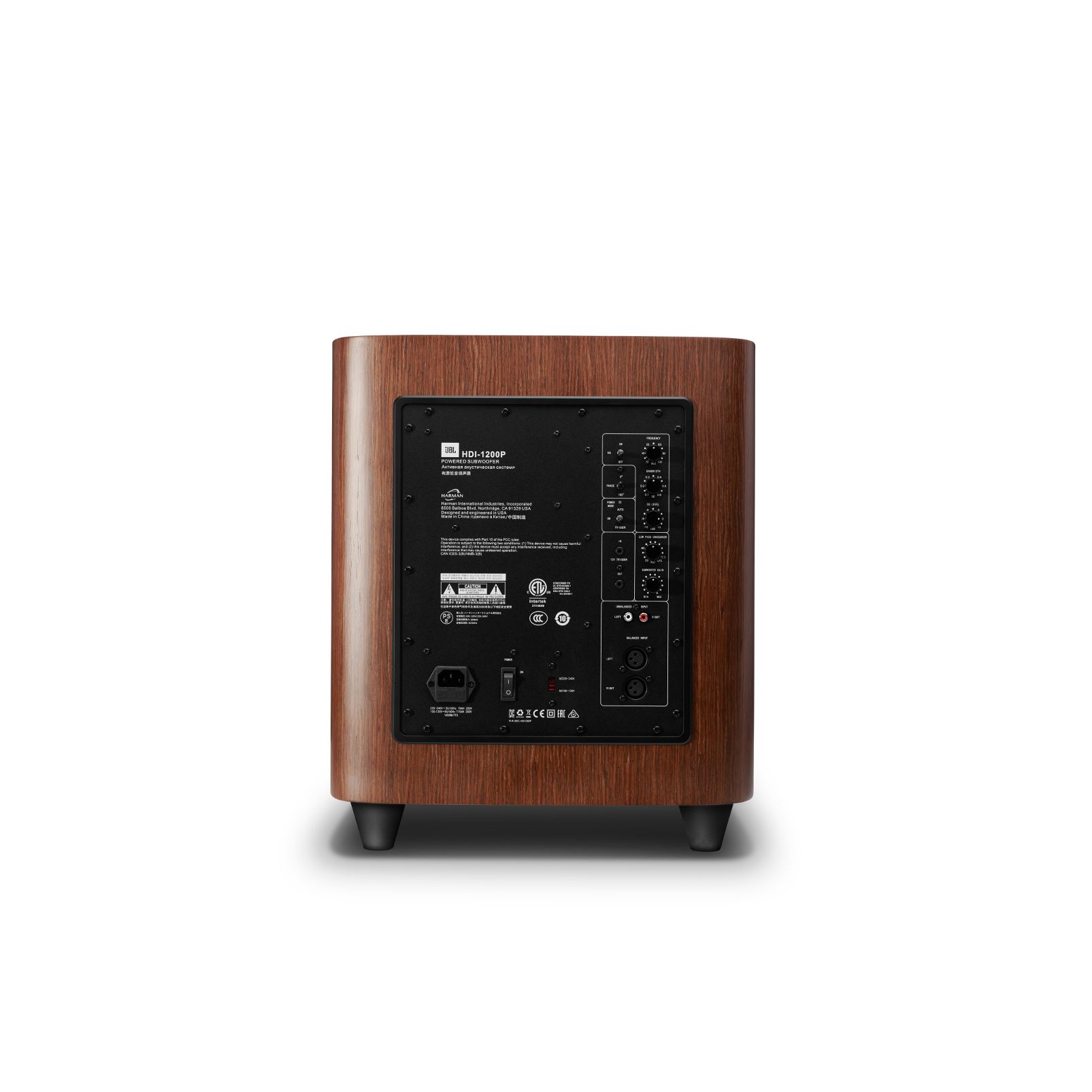 HDI-1200P - Walnut - 12-inch (300mm) 1000W Powered Subwoofer - Back